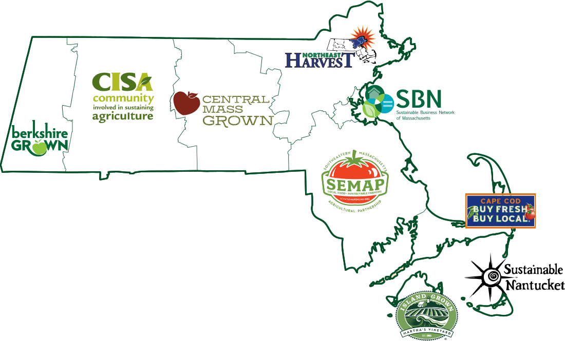 Massachusetts Coalition for Local Food and Farms logos map